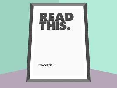 Read this! typography vector illustration design flatposter flatdesign