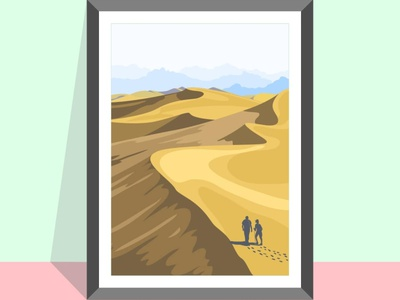 Desert dunes vector illustration flatposter flatdesign