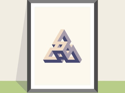 Triangle cube geometric geometric art vector illustration design flatposter flatdesign