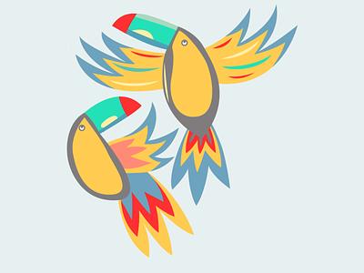 Parrots design flatposter illustration flatdesign