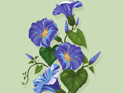 Blue flowers vector illustration design flatposter flatdesign
