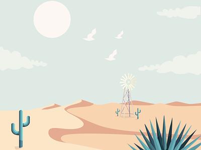 Flat desert vector illustration design flatposter flatdesign