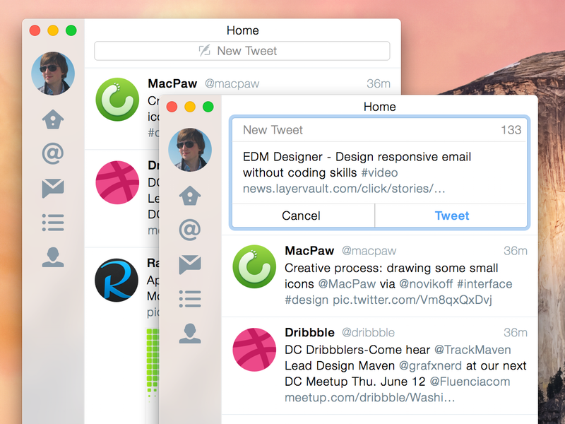 Twitter for Yosemite: Tweet UX improvement mac macos osx twitter yosemite sketch