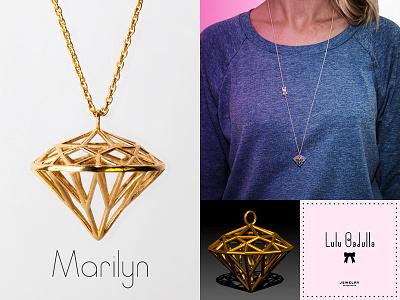 Lulubadulla - MARILYN 3d 3dprint jewelry accessories diamond gold silver rhodium