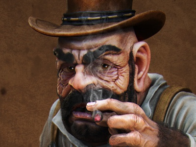 Cowboy 3d zbrush cowboy grimy cigar jeans hat horse skull