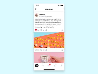 Social Posts post profile social minimal flat app ux typography branding ui design