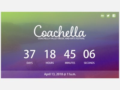 Countdown Timer gradients coachella webdesign uidesign ui dailyui countdowntimer
