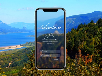 Adventurer mobile app design splashscreen home screen landingpage travel dailyui design uidesign ui