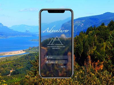 Adventurer mobile app design splashscreen home screen landingpage travel dailyui design uidesign ui
