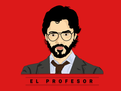 EL-PROFESOR money heist vector illustration