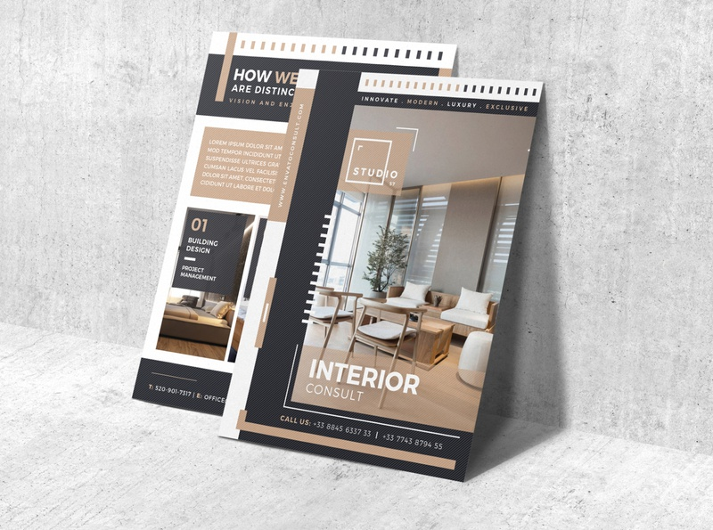 Interior Flyer PSD Template download psd download psd template interior design interior corporate identity photoshop professional branding print ready creative design graphic print
