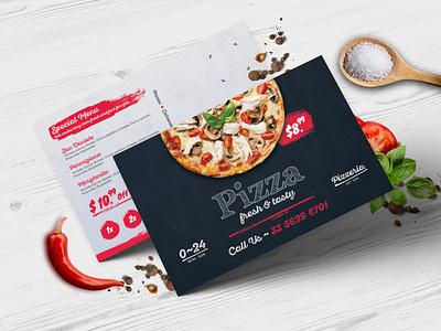 Pizza Postcard PSD photoshop pizza menu pizzeria natural promotion marketing fastfood creative branding restaurant chef print ready modern design graphic print postcard postcard project pizza
