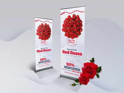 Roses Roll-Up Banner PSD