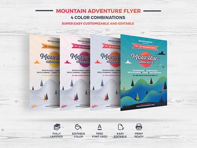 Mountain Adventure Flyer illustration natural art poster flyer photoshop corporate branding modern creative design professional print ready graphic print