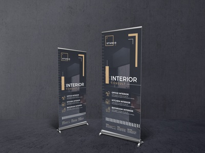 Rollup Banner Template download psd psd template editable studios architect interior promotion signage banner banner design rollup branding photoshop print ready graphic print