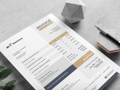 Invoice Template business account contract template psd photoshop corporate branding modern professional creative print ready design graphic print invoice