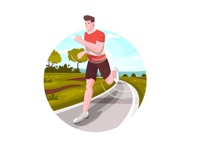 Runner in the Park poster cartoon sport people flat vector minimal illustration design