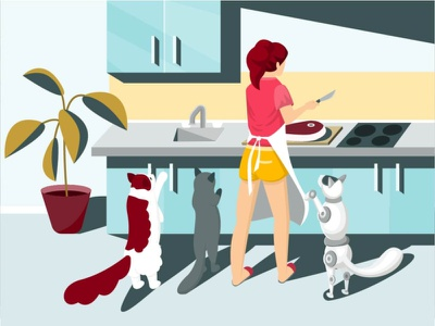 Is something wrong here? coock kitchen idea colorful modern cartoon flat vector minimal design illustration robot cat