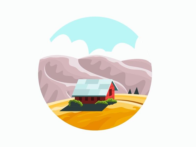 Farm Flat nature home mountian cartoon farm illustrator flat vector minimal illustration design