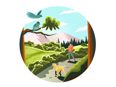 A man walks in the woods day walking walk colorful cartoon illustrator dog man forest flat vector minimal illustration design