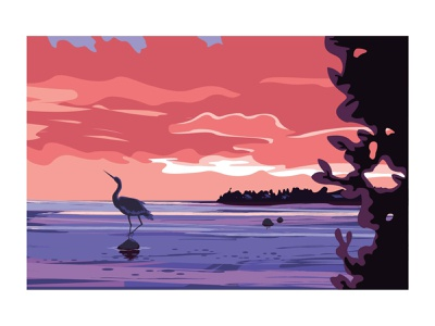 Landscape #2 heron forest lake river colorful cartoon modern illustrator flat vector minimal illustration design
