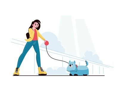 Girl with dog style art modern character cartoon colorful illustrator flat vector minimal illustration design