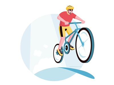 Cheerful cyclist sport bicycle colorful cartoon modern illustrator flat vector minimal illustration design