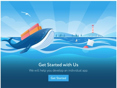 Whale,  illustration for site application art boat sea landingpage landscape ocean whale colorful cartoon app web website illustrator flat vector minimal illustration design