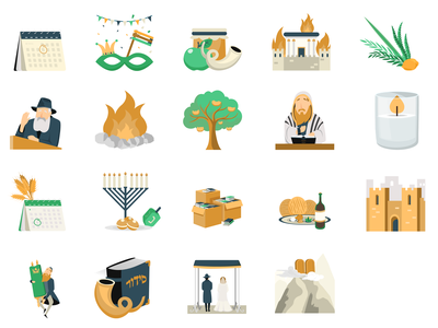 Icons of the Jewish holidays color religion holidays icons icon colorful web website modern illustrator flat vector minimal illustration design