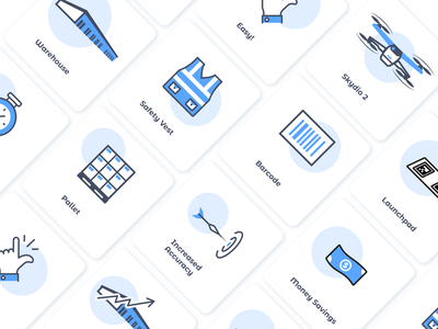 "Icons for Site ""Ware"" drone warehouse line blue icons pack icons icon app cartoon web website modern illustrator flat vector minimal illustration design"