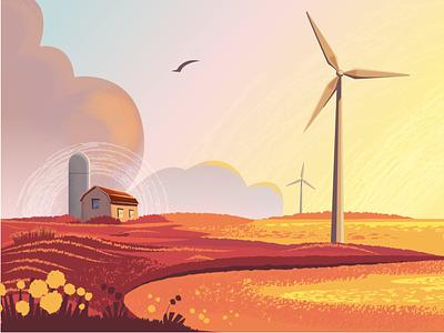 Farm landscape illustration windmill ecology eco fields grange texture vectorart landscape farm art web cartoon colorful modern illustrator vector illustration design