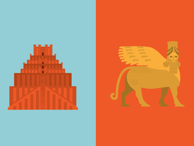 Mesopatamania - ziggurat and shedu illustration fantasy