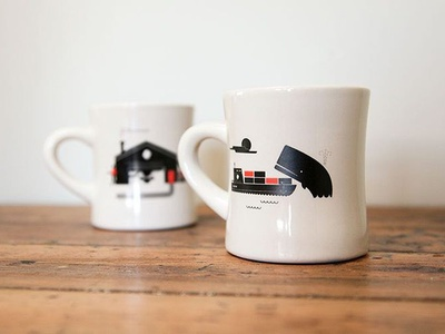 Diner mugs illustration whale coffee design