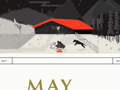 Autumn - butchering and curing calendar design illustration