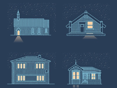 People in places new zealand buildings architecture illustration