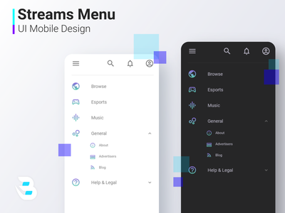 STREAM MENU menu ui mobile design mobile app menu design menu bar mobile ui ui design ui