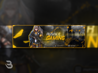 RUSHER GAMING BANNER CARD youtube yellow gaming card banner design banner branding esports logo logodesign logo design
