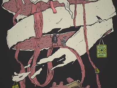 metamorphosis illustration for a skateboard wall