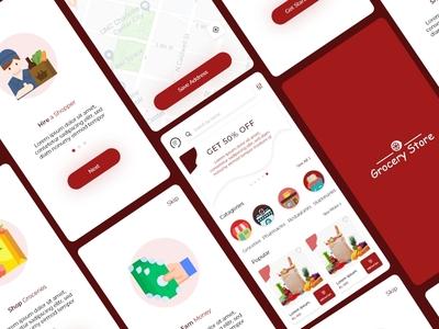 Grocery App Ui Design mobile app grocery app app ux design flat design design uidesign
