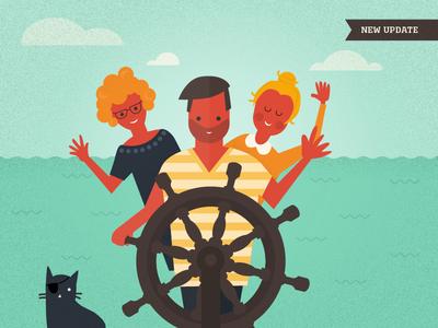 KptnCook illustration for new update illustration vector kptncook ocean people cat