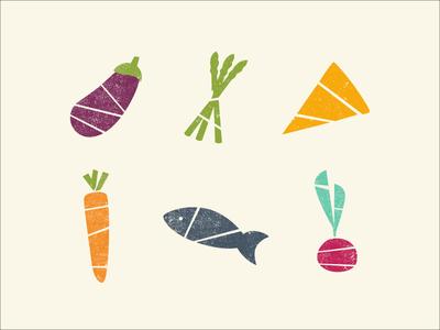 KptnCook food icons radish fish carrot cheese asparagus eggplant veggies vegetables food kptncook vector illustration
