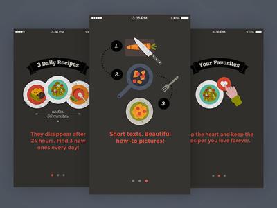 KptnCook App Tutorial Screens kptncook food recipes illustration onboarding tutorial iphone ios app mobile ux ui