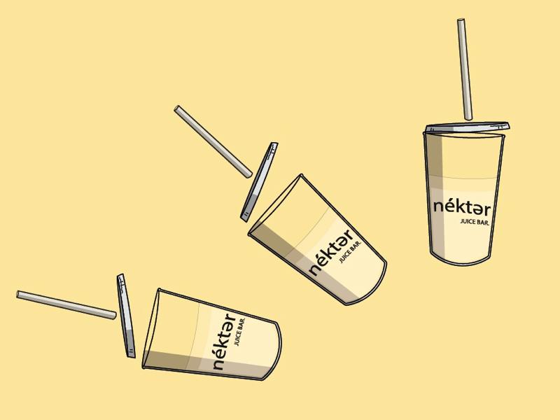 Nekter Juice Bar adobe illustrator logo brand design illustration