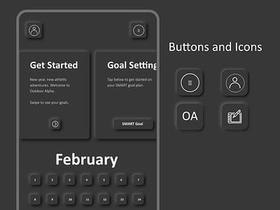 OA Mobile App Soft Button Design outdoor alpha scheduler workout app exercise mobile design dark mode soft button soft design