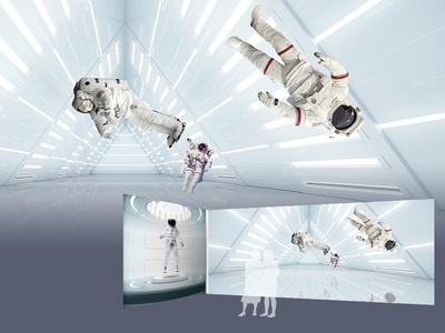 Space Week interior graphic design exhibition interior astronaut planet stars galaxy space