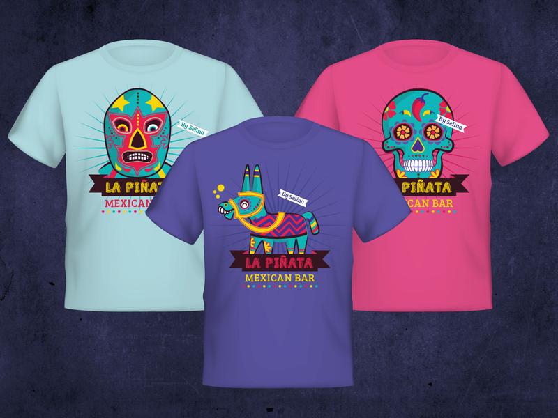 La Pinata Tshirts chilly luchador sugarskull skull selina pinata panama mexico mexican latin america latin