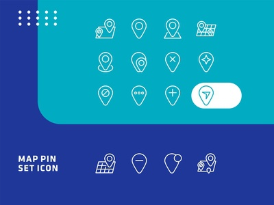 Set of upload map pin line icon design