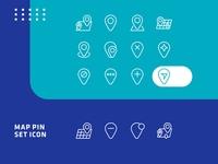 Set of upload map pin line icon design