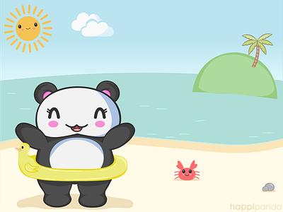 Happi Panda Beach Fun cute animals illustrator illustration vector
