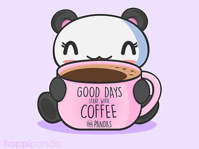 Good Days Start with Coffee & Pandas cute animals illustrator illustration vector